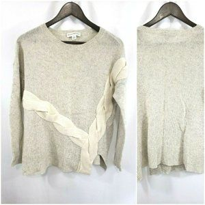 White + Warren  100% Cashmere Cable Slit Sweater